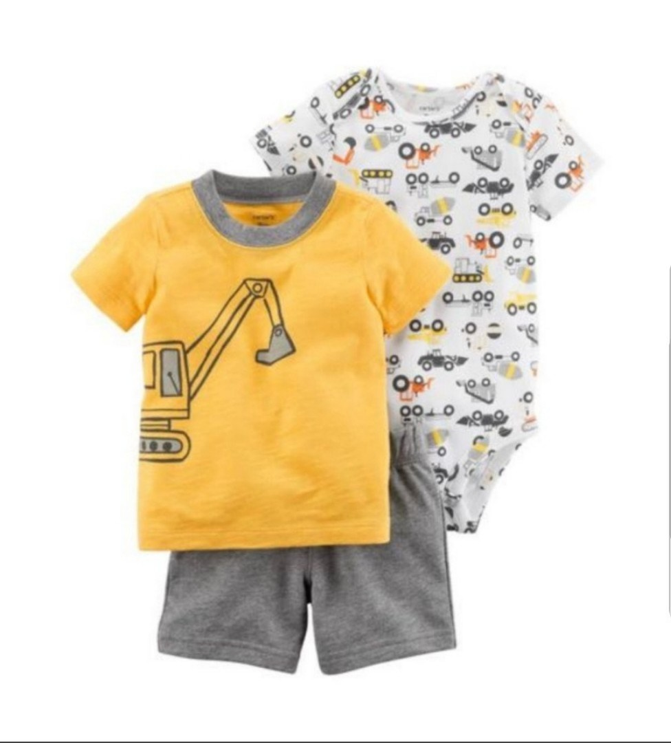 a710a2961138 12M  BN Carter s 3 Piece Bodysuit and Shorts Set For Baby Boy ...