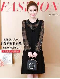 🚚 (FA1439)大碼格子拼接連衣裙(黑色)