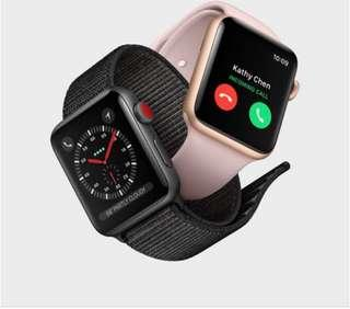 apple watch 3 gps+cellular 38mm for iphone 金銀黑 全新 減700