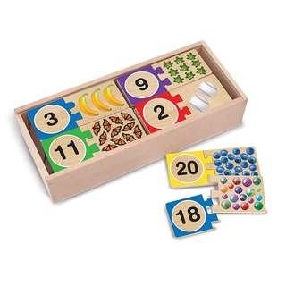 *Brand New* Melissa & Doug Self-Correct Counting Wooden Number Puzzles With Storage Box (40 pcs) Educational Toy for Homeschooling (Great for Math Learning) Tot / Home School Teaching Resources