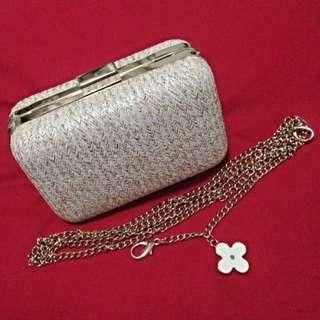 BN Basketweave Evening Clutch Sling Bag