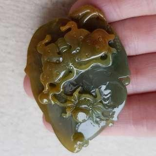 Certified Type A Jadeite Pendant Tri-Color Jade Bluish Green Yellow Butterfly Spider Leaf 知足常乐 事业有成