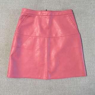 Pink Fake Leather Skirt
