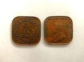 Strait Settlement George V King and Emperor of India coin 1926 1 cent
