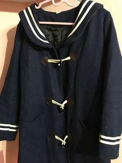 🚚 藍色 貓耳 水手服 大衣 外套