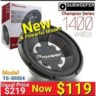 """New Pioneer Subwoofer - 12"""" 1400Watts Single Coil Subwoofer.  Model: TS-300S4. Usual price: $219 Special $119. Warranty: 30 days one to one exchange ."""