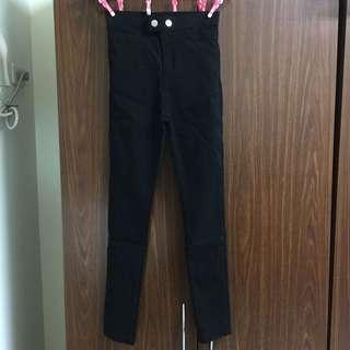 全新彈力顯瘦黑褲
