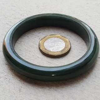 55mm Certified Type A Jadeite Bangle Jade Black Green 墨翡