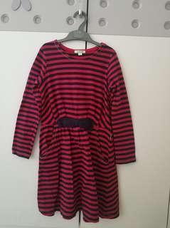 Dress garis merah navy