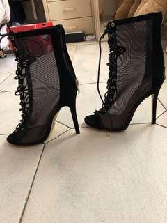 Mesh open toe heels