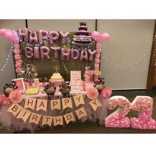 21st Birthday Party Backdrop Setup Dessert Table Decorations