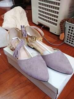 全新 韓國牌子 紫色 平底 尖頭鞋
