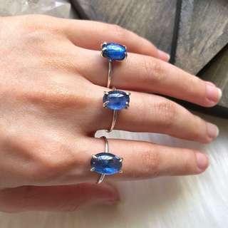 Natural Blue Kyanite 925 Silver Rings (Handmade)
