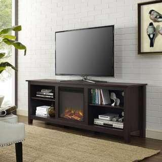 "70"" Fireplace TV Media Storage Stand for TV's up to 75"""