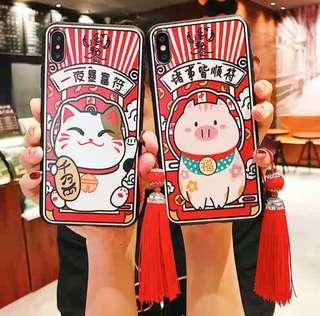 iPhone /OPPO/vivo/華為 手機系列♥新年 豬年  可愛 招財貓 小豬 系列創意   微浮雕 發財手機殼