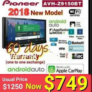 """Pioneer Avh-Z9150BT  7"""" Wireless Wi-Fi Touchscreen ( Android Auto + Apple Carplay) + HDMI + Wireless mirroring head Unit. Modrlel : AVH-Z9150BT Usual Price :$ 1299 Special Price: $749 + 60 days warranty - one to one exchange) ."""