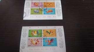 歲次丁丑,癸酉 1997,1993牛,雞年郵票小全張 已蓋銷