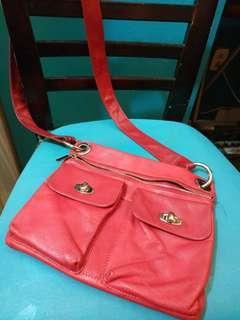 Danier Leather Red Shoulder Leather Bag ($35 or Best Offer)