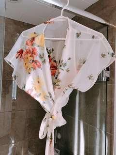 Zara floral wrap blouse