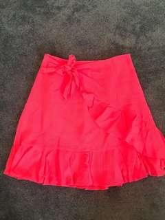 Red linen blend skirt