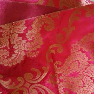 Imported Gold Flower Red Velvet Fabric