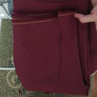 Maroon Brown Yellow Line Uniform Fabric
