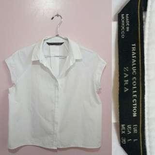 ZARA Trafaluc Button Down Short Sleeve White Top