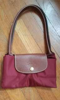 Geunine Longchamp Le P liage long handle small handbag