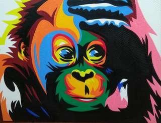 Colourful monkey painting (90cm x 70cm)