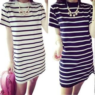 Korean Stripe Long T Shirt Dress PHP400  AVAILABLE COLORS: BLACK AND WHTE AVAILABLE SIZE: S, M, L, XL, XXL IN STOCK