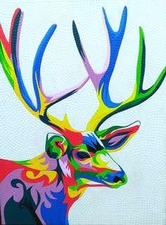 Colourful deer painting (70cm x 90cm)