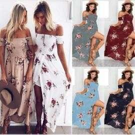 Sexy wrapped chest Floral Print Long Dress 5A0001 PHP540