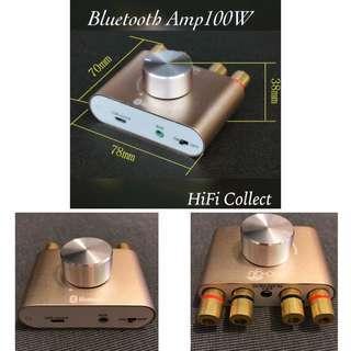 金色超迷你藍牙DAC解碼器擴音機100w 外型可愛80w 機身只有 濶8cm 深7cm  體積細小 但音色無比細膩 超乎想像 3種輸入:內置解碼器可以直讀電腦usb聲源,藍牙接收,3.5mm 輸入 直出無源喇叭 跟12V5000ma火牛