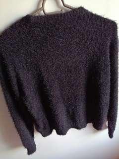 H&M black fur jacket