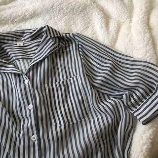 🚚 藏青色 條紋 薄襯衫👔