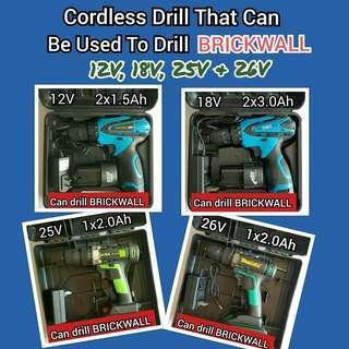 Cordless Drill 12V, 18V, 25V & 26V That Can Be Used To Drill Brickwall