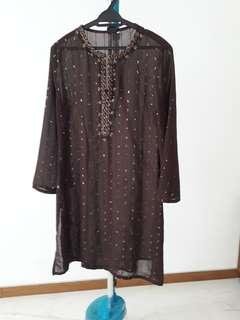Kurong top. Brown chiffon with sequin