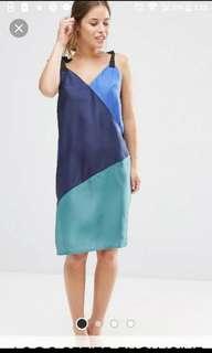 Like New ASOS Colourblock Sleeveless Tie Strap Dress in Silk