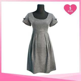 Gray Folded Flap Sleeves Dress
