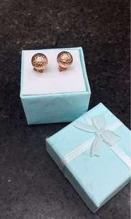 14karat Rose Gold Earring Ball Design