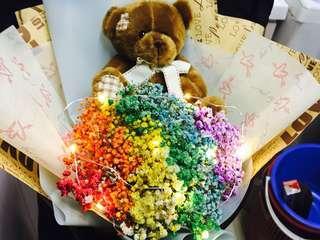 Huamama Bear Baby Breath Bouquet