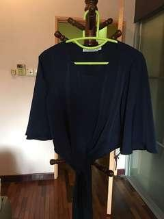 The Tinsel Rack Navy Tied Top