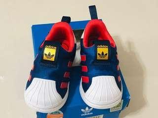 🚚 二手真品 Adidas 愛迪達 superstar 360 經典款 貝殼頭 套腳 小童 童鞋 藍紅白