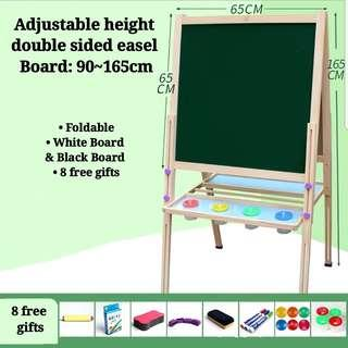 Adjustable Height Big Wooden Double Sided Whiteboard Blackboard Drawing Painting Art and Craft Writing Learning Teaching Educational Easel Set with Free Gifts