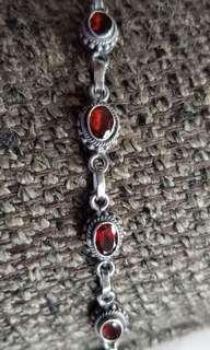 Silver Bracelet with Red Stones