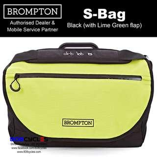 BROMPTON S-Bag in Black with Lime Green flap