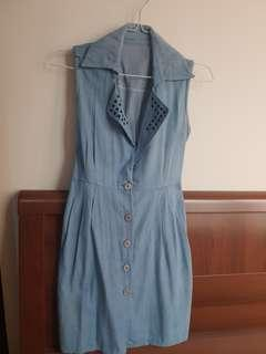 Dress denim biru karet