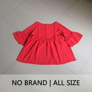 NEW Baju Merah Lengan Terompet | Blouse Bell Sleeve Red