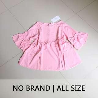 NEW Baju Pink Lengan Terompet | Blouse Bell Sleeve Pink
