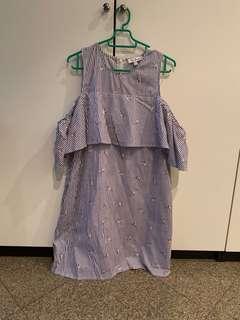 BNWOT LOVE BONITO OFF SHOULDER STRIPED DRESS